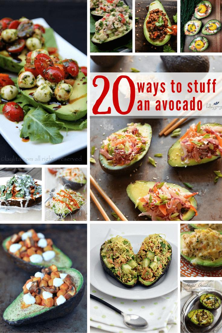 20 Stuffed Avocado Recipes #avocado #vegan #stuffedavocado #vegetarian #cleverfulliving