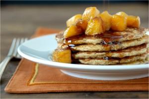 Oatmeal Pancakes with Warm Peaches