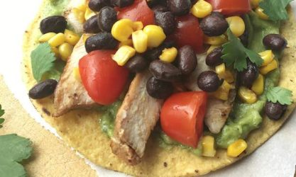 Weeknight Grilled Chicken Tostadas with Black Bean and Corn Salsa