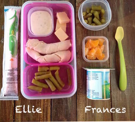 Ellie: yogurt tube, about 1-oz no-salt-added Boar's Head turkey, 1/2-oz Cabot cheddar, 2 tbsp green beans, 1 tbsp ranch Frances: whole-milk yogurt, 1/2 cup green beans, 1/2 cup orange segments