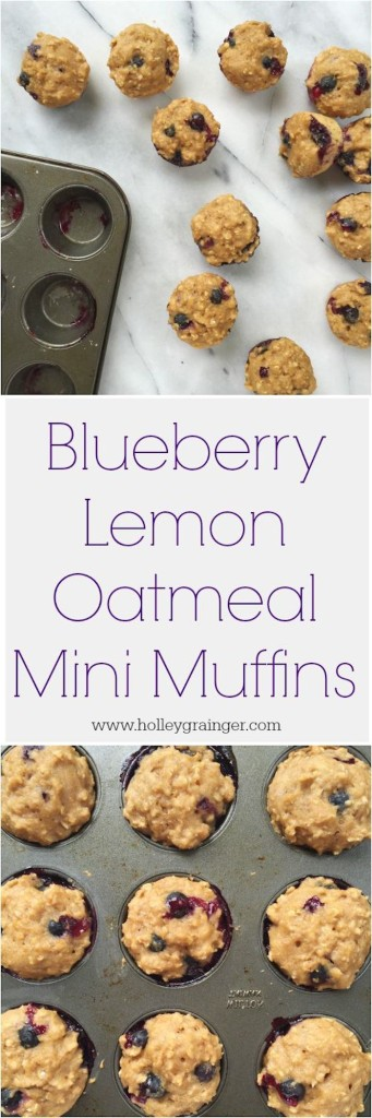 Blueberry Lemon Oatmeal Mini Muffins are a perfectly poppable snack! These bite-sized treats use Greek yogurt to add protein and replace oil or butter. The whole wheat flour and oatmeal offer a nutty