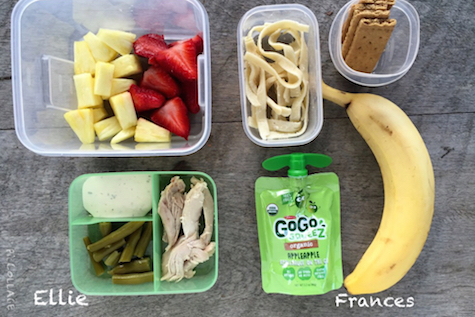 Ellie: 1/2 cup fresh pineapple, 1/2 cup fresh strawberries, 2oz chicken breast, 1/4 cup green beans, 1 tbsp ranch Frances (getting over the stomach bug): 1/4 cup noodles, applesauce, banana, graham cracker