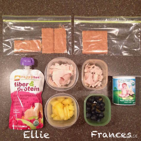 Ellie: fruit & veggie squeezie, 1-ounce low-sodium turkey breast, 1/4 cup fresh pineapple, graham cracker Frances: whole-milk yogurt, 1-ounce low-sodium turkey breast, 1/4 cup fresh blueberries, 1/2 graham cracker