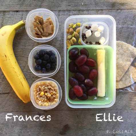 Frances: banana, 1/4 whole grain tortilla with sun butter cut into squares, 1/2 cup blueberries, 1/2 cup mixed brown rice and corn Ellie: 3/4 cup grapes, string cheese, 1/2 whole grain tortilla with sun butter, 1 Tbsp pistachios, 1 tsp mini chocolate chips, 5 mini marshmallows