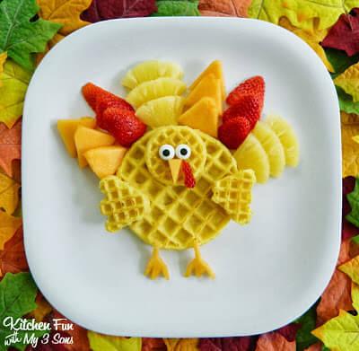 Turkey Shaped Waffle Breakfast