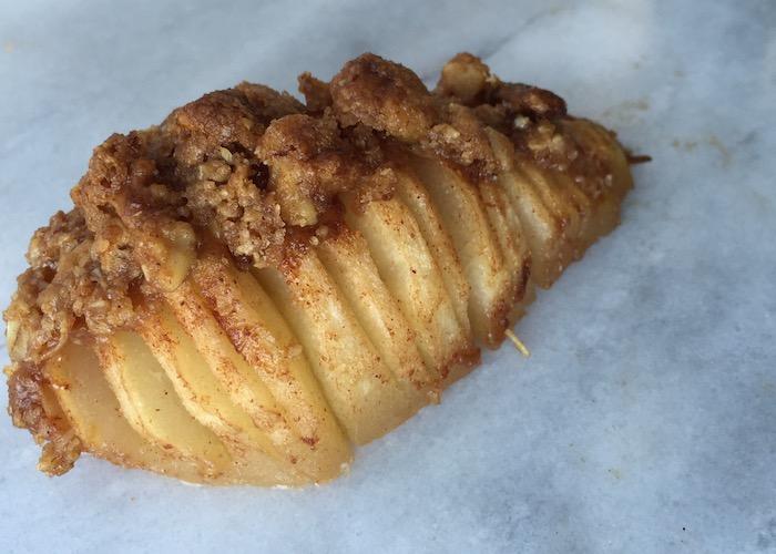 Cinnamon Oat Hasselback Pear