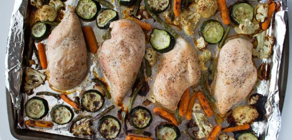 Five-Ingredient, One-Pan Roasted Chicken and Veggies is your solution when you're in need of a simple weeknight family-friendly meal.