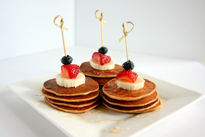 Break out of the breakfast rut and kick start your child's day with these delicious mini pancake skewer stacks! Make these protein-packed pancakes ahead of time and freeze. They will make your morning routine easier and certainly more tasty!