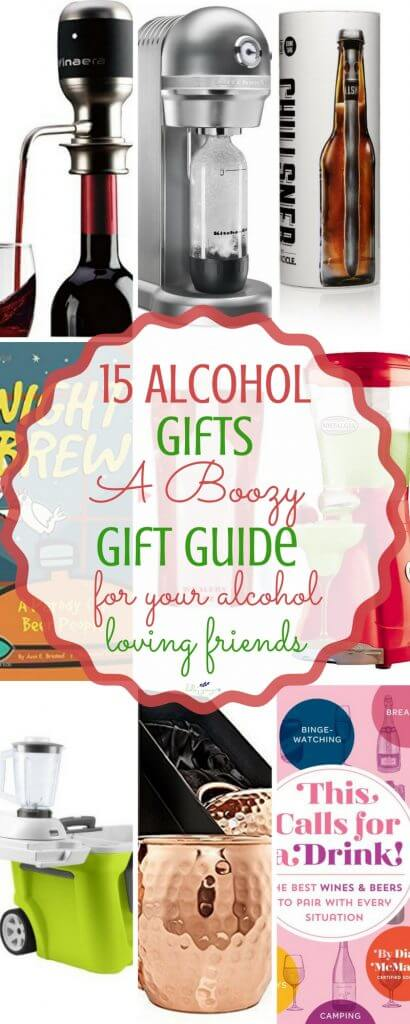 15 Alcohol Gifts For Your Friends That Drink #foodgift #alcohol #alcoholgift #boozygifts #christmasgifts #giftguide