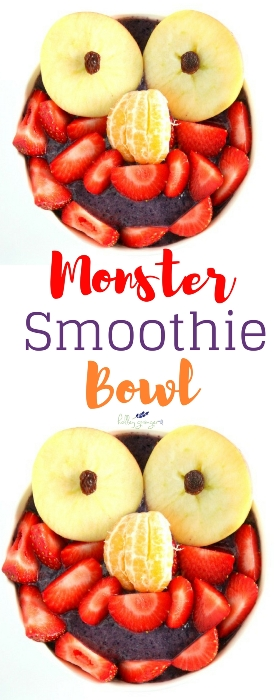 Getting kids to eat fruit and veggies can be a struggle. My monster smoothie bowl is a fun way to incorporate more fruits and veggies in your kids' diet. Even the pickiest eaters will love this fun breakfast!