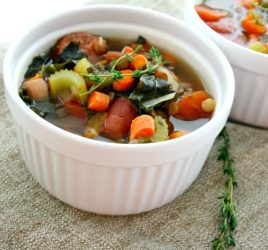 Kale, lentil, and sausage slow cooker soup is a hearty, healthy, delicious, and most importantly easy dinner! Simply throw the ingredients in your slow cooker, turn on, and dinner is ready to serve when you get home.