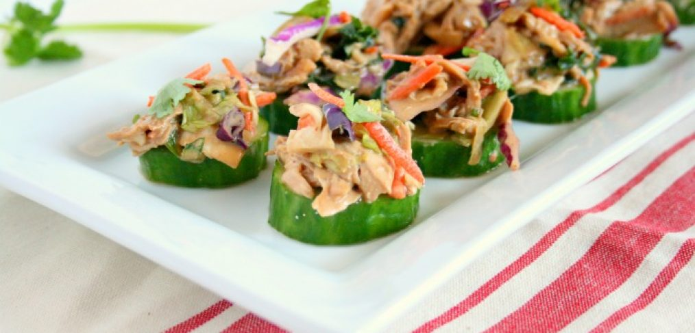 Check out my healthy and creative twist on chicken salad. My Asian chicken salad cucumber bites are easy to make and packed with flavor!