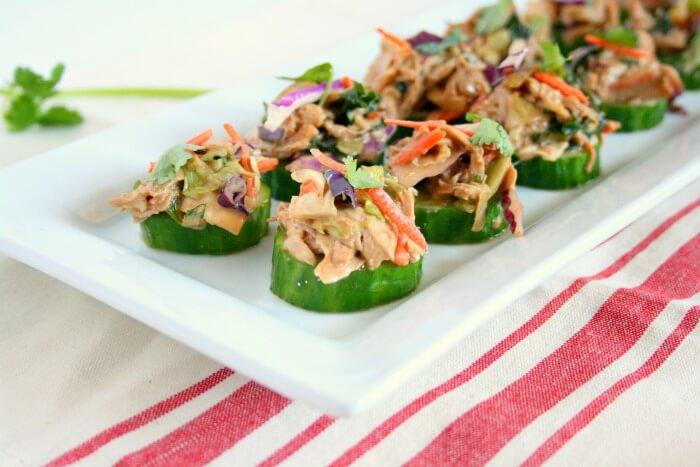 Asian Chicken Salad Cucumber Bites