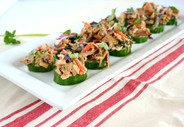 Asian Chicken Salad Cucumber Bites