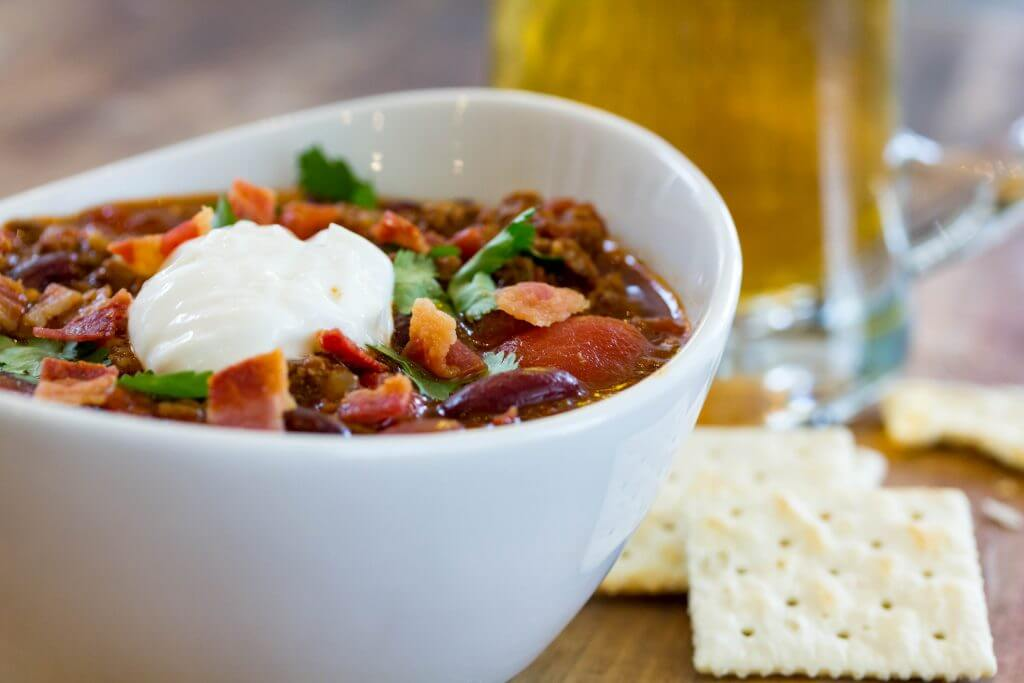 Hearty Bacon, Beef, and Beer Chili