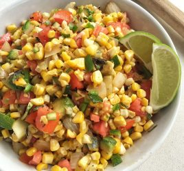 Whether you're looking for a simple flavor-packed veggie salad for Cinco de Mayo, a summer cookout, or a weeknight dinner, this Grilled Corn and Poblano Salad with Honey-Lime Dressing is packed with fresh ingredients like sweet corn, poblano peppers, creamy avocado, and onion