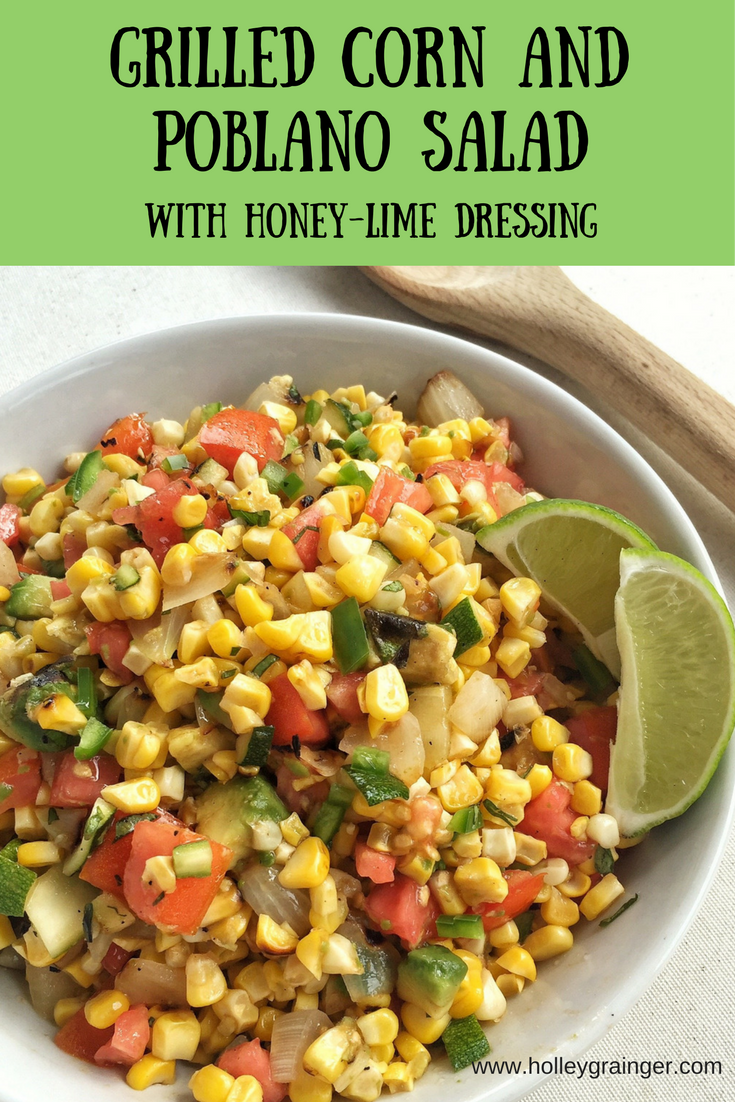 Whether you're looking for a simple flavor-packed veggie salad for Cinco de Mayo, a summer cookout, or a weeknight dinner, this Grilled Corn and Poblano Salad with Honey-Lime Dressing is packed with fresh ingredients like sweet corn, poblano peppers, creamy avocado, and onion.