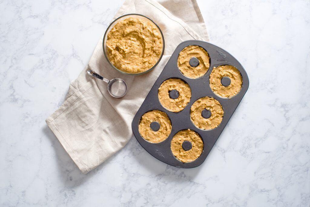 Baked Applesauce Cake Donuts with Cinnamon-Vanilla Glaze