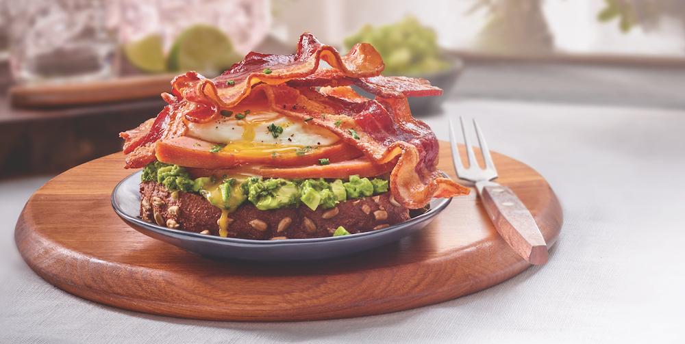 Breakfast Avocado Toast with Bacon and Ham image provided by Smithfield