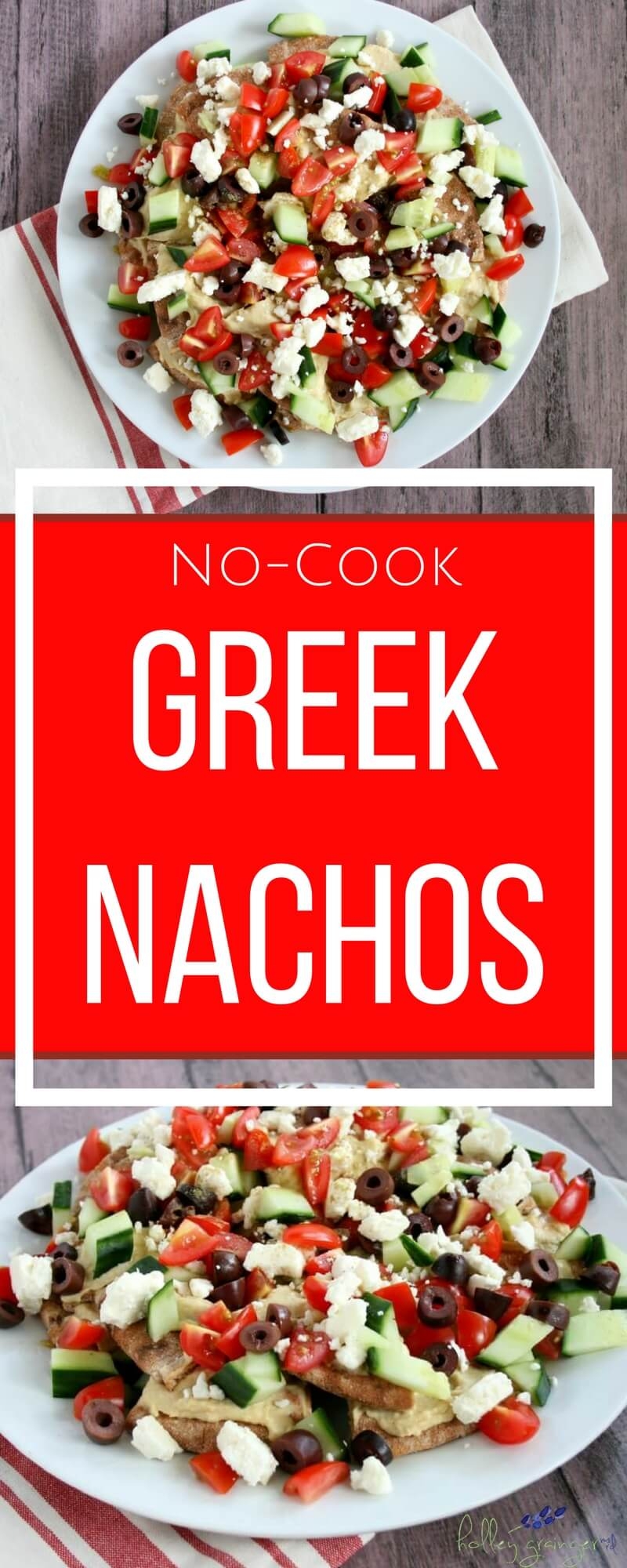 Add little Mediterranean flare to your weekly menu with No-Cook Greek Nachos. This simple vegetarian recipe is perfect for a hearty appetizer, filling lunch, or light dinner.