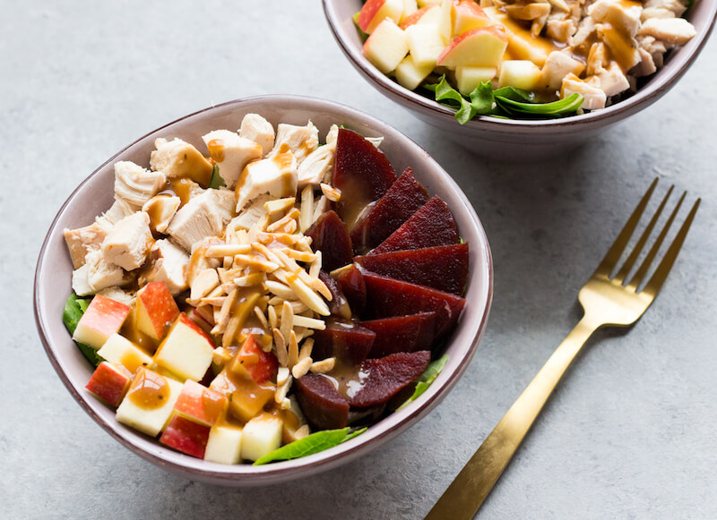 Toss together your favorite fall ingredients like crispy apples and crunchy beets to create this simple autumn salad for a simple and nutritious lunch.