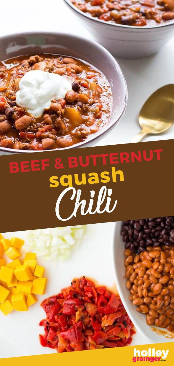 Sweet butternut squash, smoky roasted red peppers, and spicy chili beans add big flavor to this simple, one-pot Beef and Butternut Squash Chili recipe.