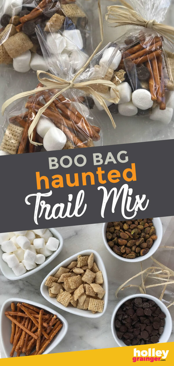 Goblin's teeth, witches warts and more! Spook your guests with these Boo Bags loaded with Haunted Trail Mix are a fun Halloween snack or party treat. #halloween #cleverfulliving #trailmix #halloweenparty #halloweensnack