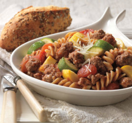 Feed the entire family with Beef and Pasta Skillet Primavera.