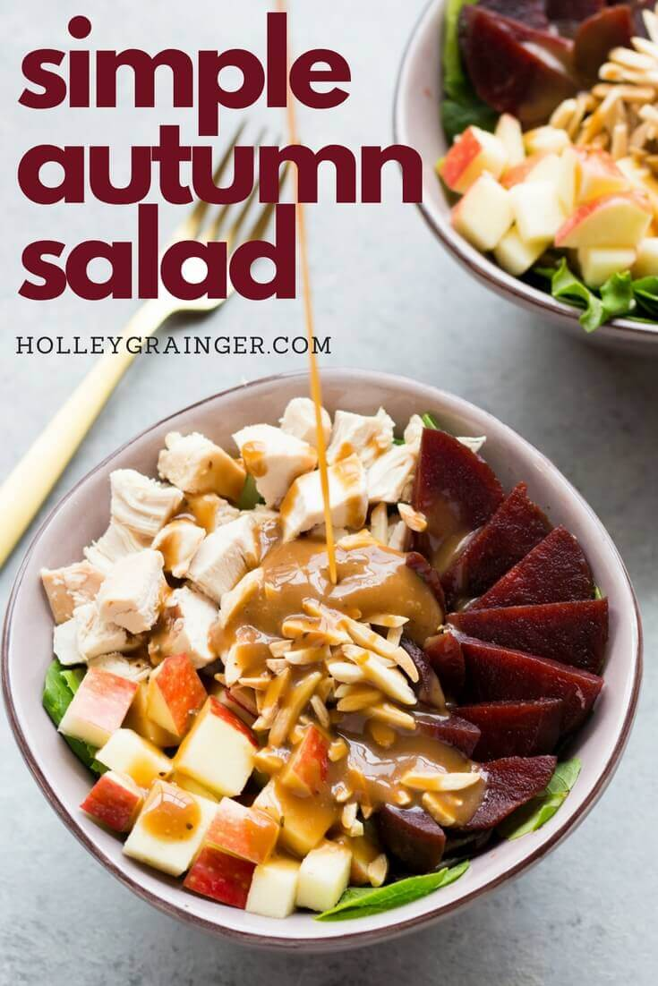 Autumn Salad with Chicken, Apples and Beets: Toss together your favorite fall ingredients like crispy apples and crunchy beets to create this simple autumn salad for a simple and nutritious lunch.