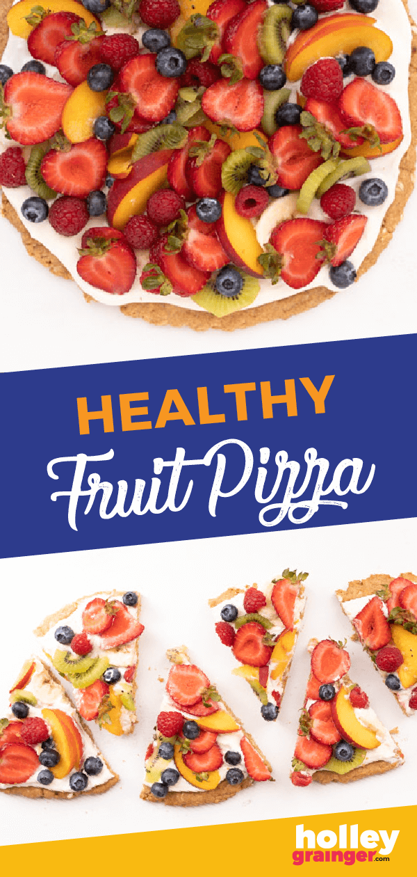 Looking for a dessert that will please your whole party? This easy Healthy Fruit Pizza recipe fits the bill- pretty for a dinner party and fun for the kids!