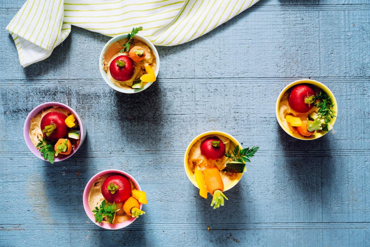 Individual Spring Veggie Hummus Cups
