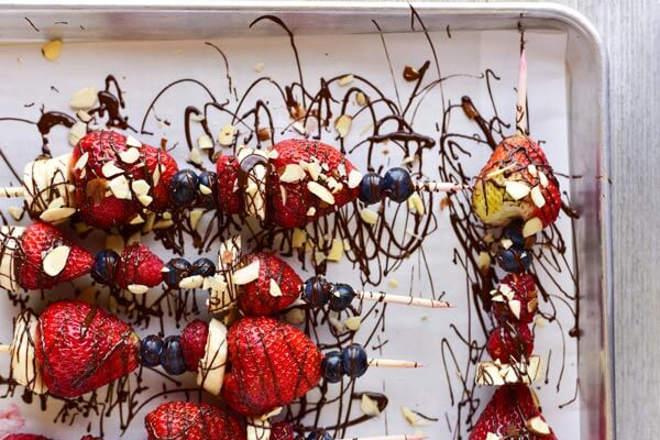 Dark Chocolate Drizzled Fruit Skewers