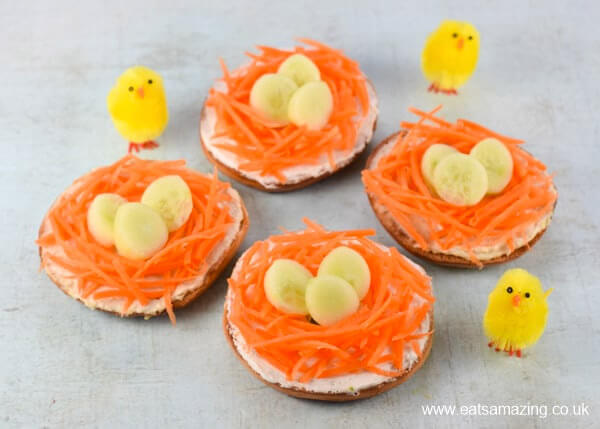 Fun Healthy Easter Nest Bagels