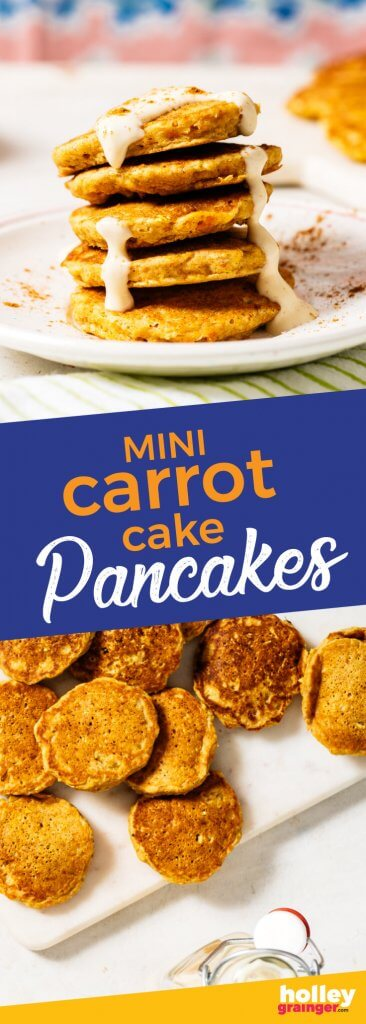 Mini Carrot Cake Pancakes with Vanilla Greek Frosting, from Holley Grainger