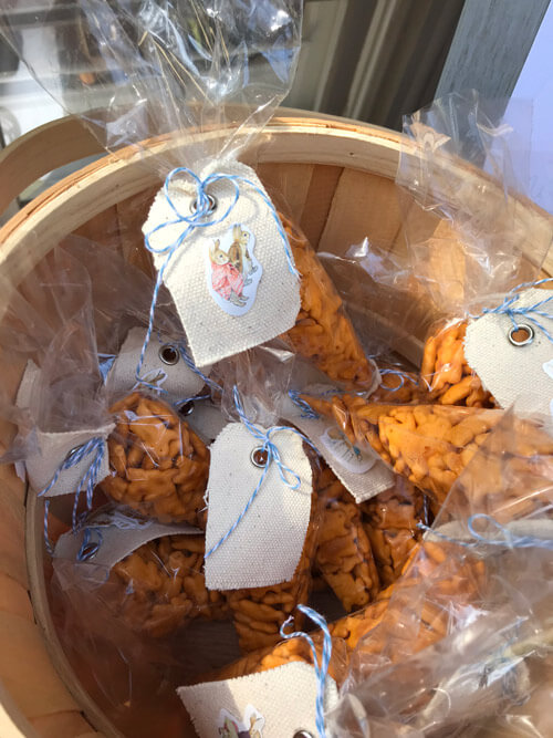 Cheddar Bunny goodie bags for a Peter Rabbit Birthday Party