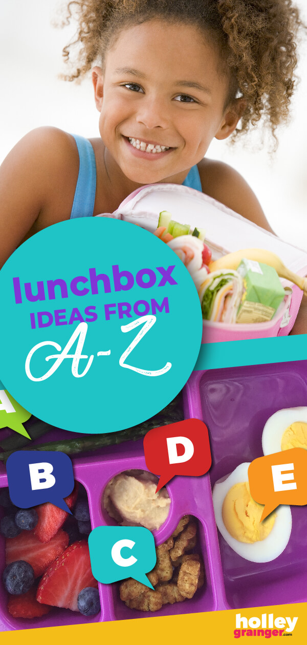 Alphabet Lunchbox Ideas - Holley Grainger ... Help your children learn their ABCs with these alphabet lunchbox ideas that feature yummy foods from A to Z that encourage both learning and fun.