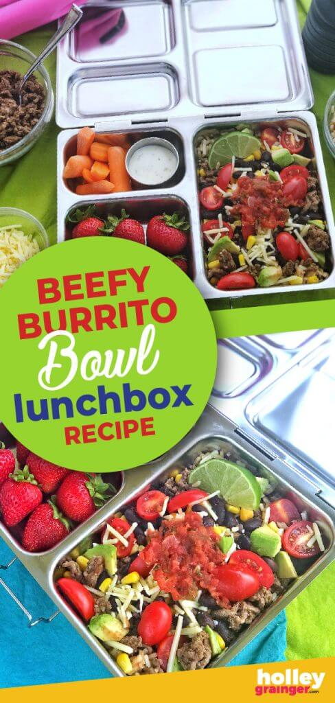 Beefy Burrito Bowl Lunchbox Recipe from Holley Grainger