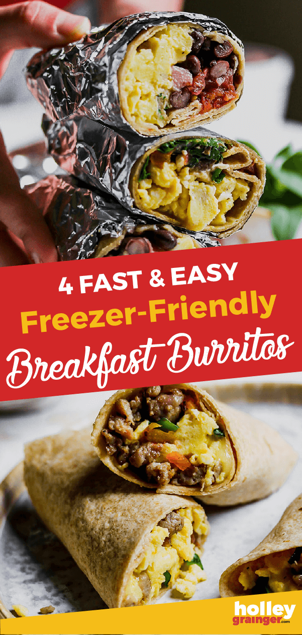 Stock your freezer with one of these 4 breakfast burritos for a fast and easy make ahead breakfast when you're on the go.