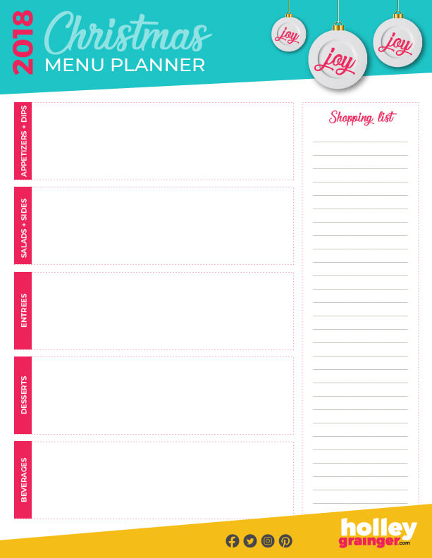 Ultimate Christmas Menu Planner from Holley Grainger