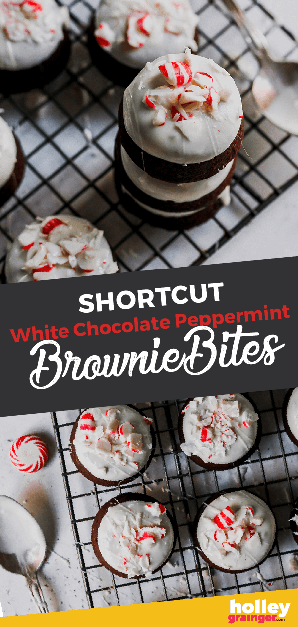 Shortcut White Chocolate Peppermint Brownie Bites by Holley Grainger #christmas #holiday #dessert #holidaydessert #christmasdessert #peppermint
