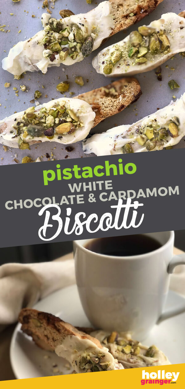 Easy, homemade Pistachio, White Chocolate and Cardamom Biscotti makes the perfect holiday hostess gift or delightful treat with coffee.