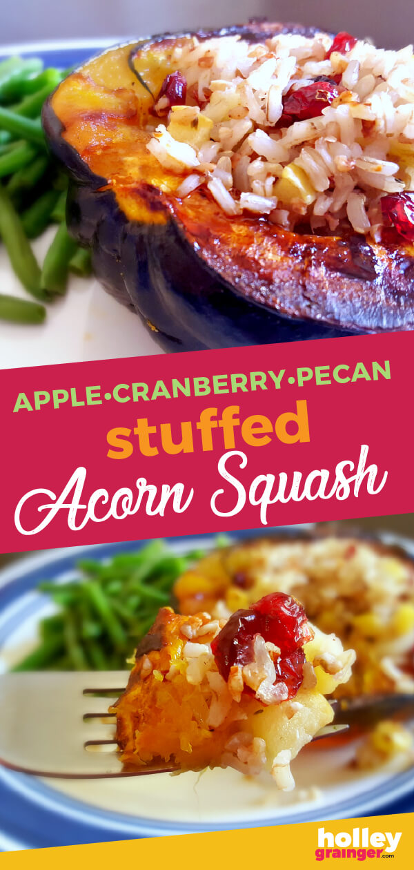 This stuffed acorn squash recipe is literally like autumn in your mouth bursting with ingredients like apples, cranberries, pecans and more. Apple Cranberry Pecan Stuffed Acorn Squash is definitely a must try! #acornsquash #stuffedsquash #thanksgiving #fallrecipe