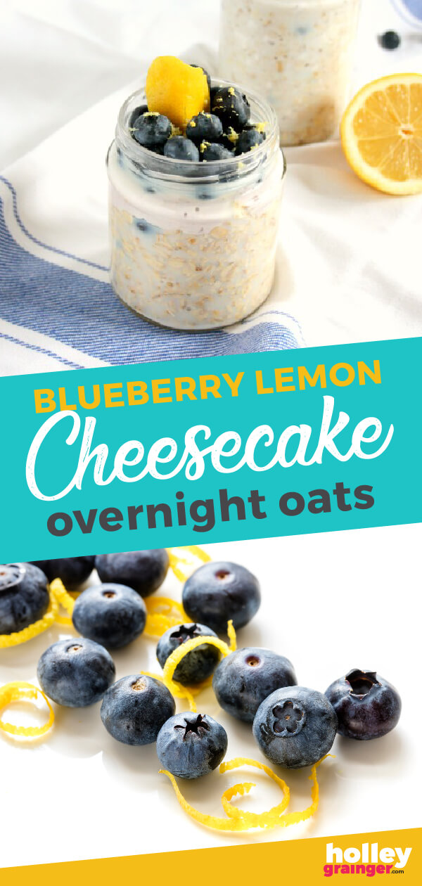 Blueberry Lemon Cheesecake Overnight Oats - Holley Grainger Dessert for breakfast? Yes please! Blueberry lemon cheesecake overnight oats will start your day on a healthy and sweet note. Great for mornings on the go!