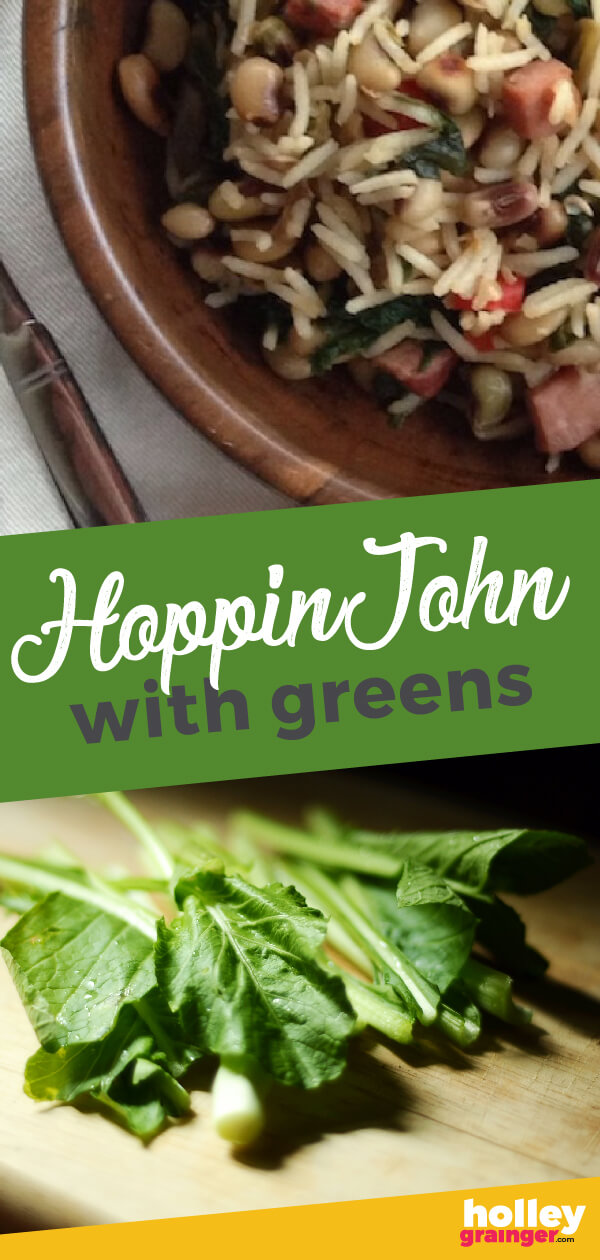 Hoppin' John with Greens  - Kick off your #NewYearsDay with a steaming bowl of Hoppin' John with #Greens for good luck, health, wealth, and prosperity.