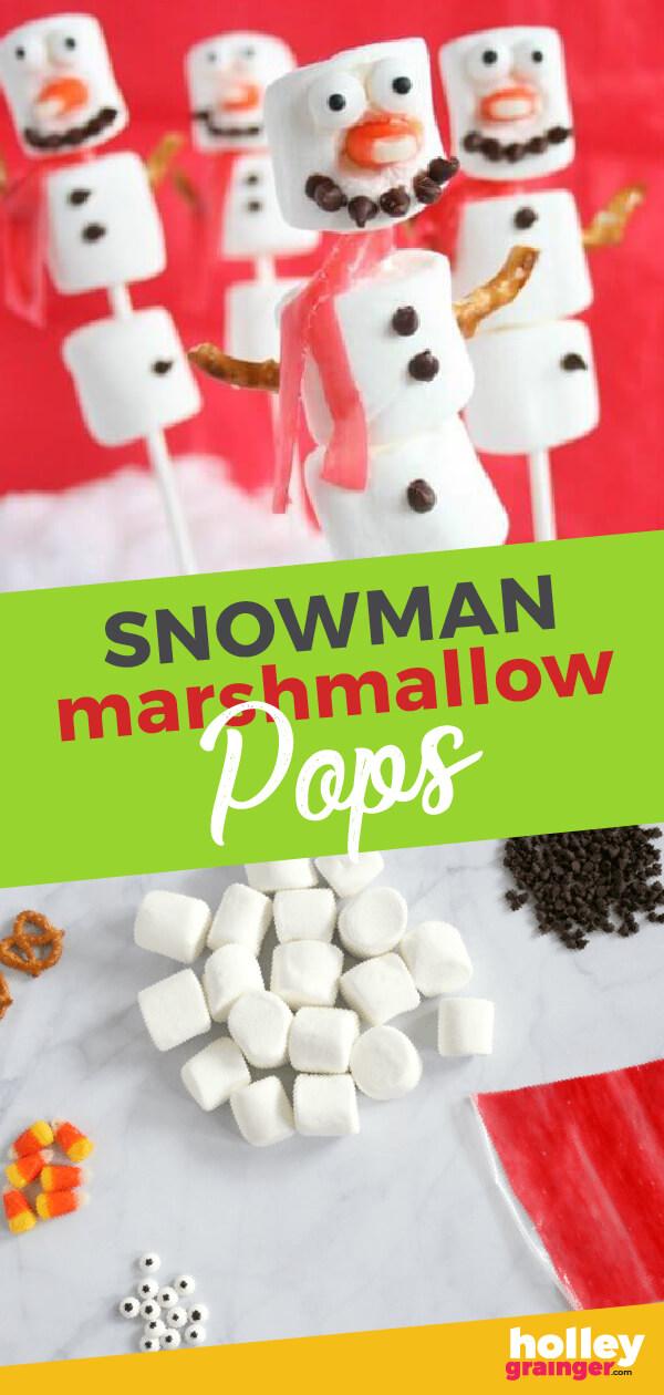 Snowman Marshmallow Pops - Holley Grainger #snowmandessert #christmasdessert #marshmallows #nutfreedessert #holidaytreat