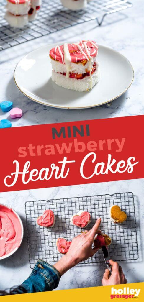 Mini Strawberry Heart Cakes