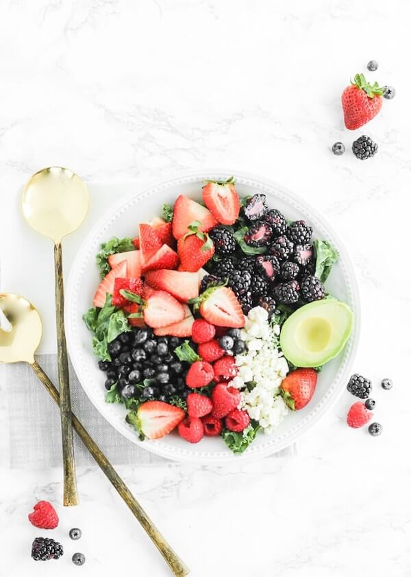 Berry Avocado Kale Salad from Lively Table
