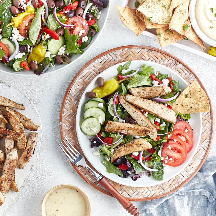 Tazikis Chicken Salad with pita healthy takeout dinner