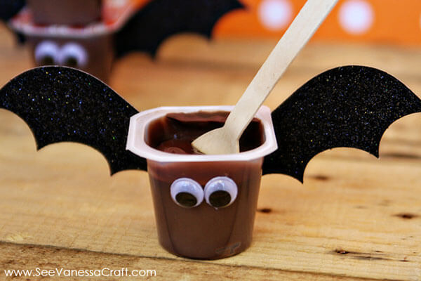 Bat pudding cups via See Vanessa Craft