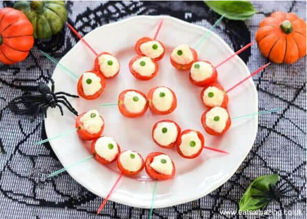 Spooky Eyeball Caprese Bites via Eats Amazing